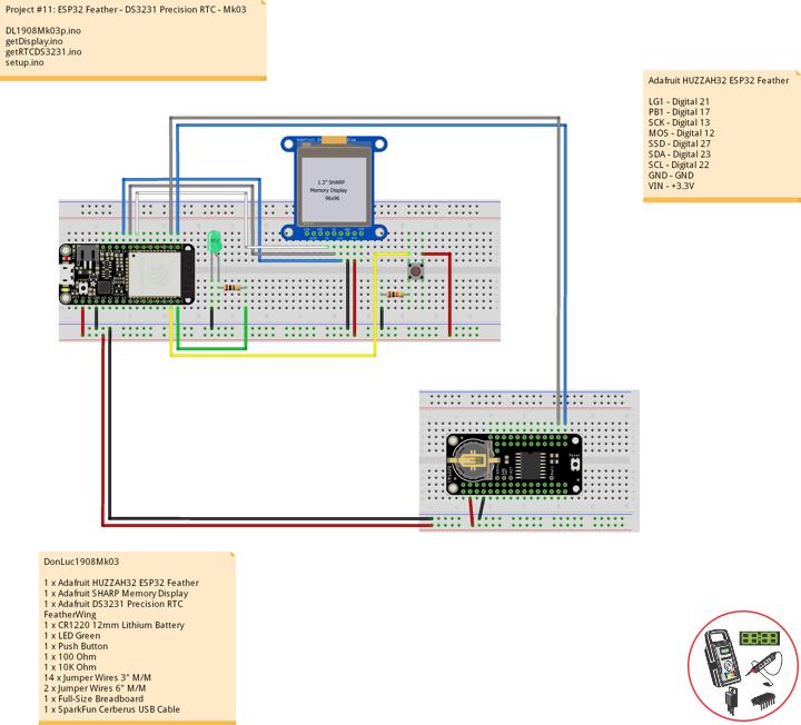 ESP32 Feather - DS3231 Precision RTC
